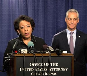 Attorney General Loretta Lynch speaks during a news conference accompanied by Principal Deputy Assistant Attorney General Vanita Gupta, left, and Chicago Mayor Rahm Emanuel Friday, Jan. 13, 2017, in Chicago.  (AP Photo/Teresa Crawford)
