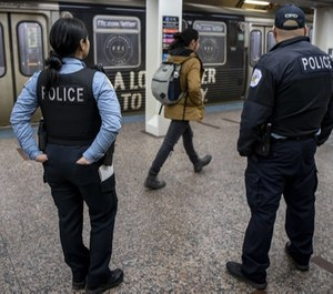 Chicago police patrol the CTA Red Line subway platform at the Jackson station on March 5, 2020. (Photo/TNS)