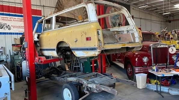 The 1969 Chevy Ambulance was separated from its frame for the first time in decades, in preparation for an extensive restoration.