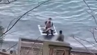 Video: Woman on homemade raft rescued from Niagara River after resisting first responders