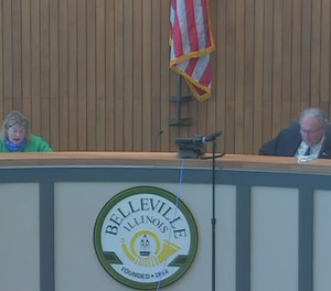 The Belleville City Council voted unanimously on Friday to lay off or furlough 56 public employees, including four firefighters and two police officers. (Photo/Belleville City Council YouTube)