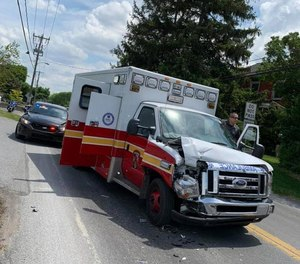 A Reading Fire Department ambulance was stolen during a medical call on Monday and pursued by state police until it crashed.