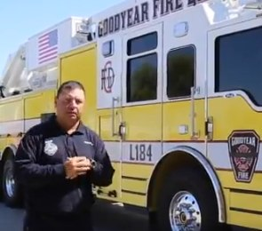 In this screenshot from a video published by the city of Goodyear and the Goodyear Fire Department, Fire Capt. Jose Aguirre explains the components of the department's new clean cab fire truck designed to reduce cancer risks. (Photo/Goodyear, AZ Twitter)