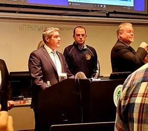 Monroe County Executive Adam Bello (left) declared a state of emergency on March 14 in response to the COVID-19 pandemic. Bello has called for county workers at risk of exposure to the virus to receive up to 20% hazard pay until the state of emergency declaration is lifted. (Photo/Adam J. Bello Twitter)