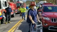 Video: First responders celebrate homecoming of fire captain who survived COVID-19