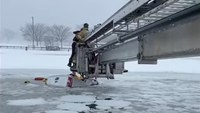 Video: Conn. FFs rescue 2 from sinking pickup truck during snowstorm