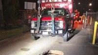 Orlando FD ambulance gets stuck in 6-foot hole