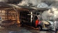 Wash. ambulances, bay catch fire