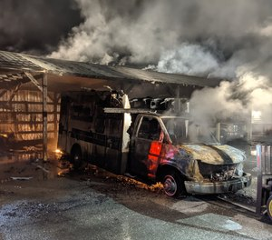 One ambulance was destroyed, another damaged, during a Tuesday morning fire at Olympic Ambulance in Washington.