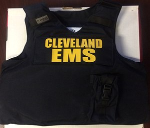 A ballistic vest used by Cleveland EMS employees. (Photo courtesy of Cleveland EMS)