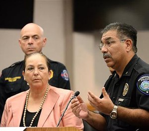 Police chief Orlando Rodriguez addresses the media, Tuesday, Oct. 4, 2016, in Brownsville, Texas. (Jason Hoekema/The Brownsville Herald via AP)