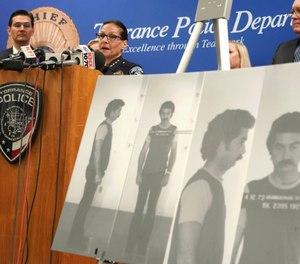 Torrance Police Chief Eve R. Irvine speaks at a press conference in Torrance, Calif., Wednesday, Sep. 11, 2019. (Scott Varley/The Orange County Register via AP)
