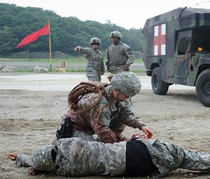 Combat medics respond to a casualty during a training exercise in South Korea. (Photo/Defense Health Agency)