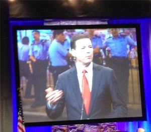 Keynote speaker FBI Director James Comey shared the priorities of the FBI at IACP 2014. (Photo courtesy American Military University)