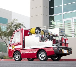 The Connected Right-Sized Emergency Firetruck stands at just 6 feet and 5 inches tall and carries a 125-gallon tank. (Photo/Panasonic Corporation of North America)