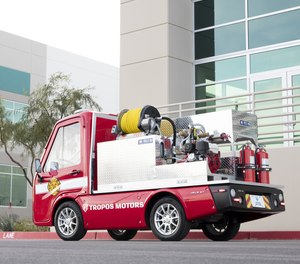 The Connected Right-Sized Emergency Firetruck stands at just 6 feet and 5 inches tall and carries a 125-gallon tank.