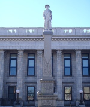 The Confederate monument in front of the Alamance County Courthouse in Graham, N.C., has been the site of numerous demonstrations over the years. Image: docsouth.unc.edu