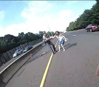 Conn. trooper saves 'distressed' woman seen running across highway, officials say