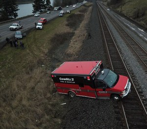 Police say a man stole a Cowlitz 2 Fire & Rescue ambulance and led officers on a chase with the rig's lights activated. (Photo/Cowlitz County Sheriff's Office)
