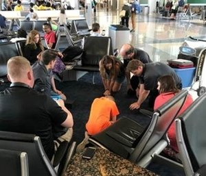 Airline passengers have the opportunity to receive free CPR training by paramedics.