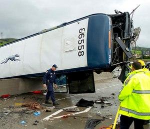 California Highway Patrol investigators examine the scene of a fatal Greyhound bus crash in San Jose, Calif. (AP Photo/Noah Berger)
