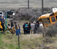 12 students hospitalized after Idaho school bus rolls over