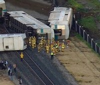 Calif. train hits truck, derails leaving 30 hurt