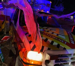 A STAT EMS ambulance was stolen and then crashed after a police pursuit Tuesday. (Photo/STAT EMS, Inc. Facebook)
