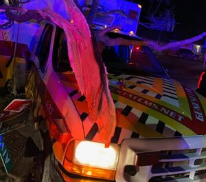 A STAT EMS ambulance was stolen and then crashed after a police pursuit Tuesday.