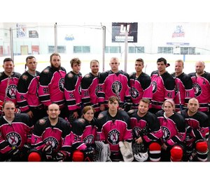 The Cromwell Fire Hockey team wore pink jerseys at its last game in October to help raise money for the Middlesex Health Cancer Center. The team is made up of full-time, part-time and volunteer firefighters, EMS personnel and dispatchers, as well as some of their family and friends. (Photo/Cromwell Fire Hockey Facebook)