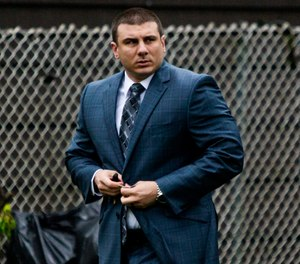 In this May 13, 2019, file photo New York City police officer Daniel Pantaleo leaves his house Monday, May 13, 2019, in Staten Island, N.Y. (AP Photo/Eduardo Munoz Alvarez, File)