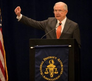Attorney General Jeff Sessions addresses the summer meeting of the nation's district attorneys from around the country at the Hilton in Minneapolis, Minn., Monday, July, 17 2017. (Jerry Holt/Star Tribune via AP)