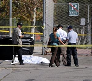 Los Angeles Police Department officers investigate the scene of a shooting Sunday, Aug. 24, 2014, where one person was killed near the 14400 block of Polk Street in Sylmar, Calif.