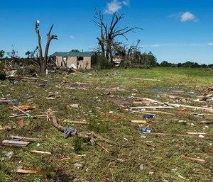 Debris lies on the ground in Canton, Texas. (Sarah A. Miller/Tyler Morning Telegraph via AP)