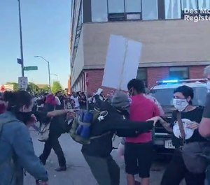 Several protester in Des Moines attacked police officers with bricks and rocks, escalating what was once a peaceful protest. (Photo/TNS)