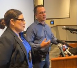 Detectives Wagner (front) and Bennett discuss details of the Carla Walker cold case at a press conference in Fort Worth, Texas on September 22, 2020.