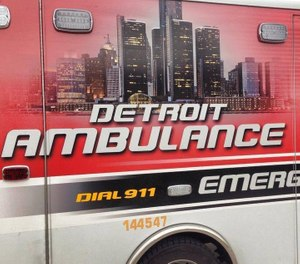 A Michigan State Police trooper was thrown from a Detroit Fire Department ambulance when it was hit by a car at the scene of a prior crash. (Photo/City of Detroit Fire Department Facebook)