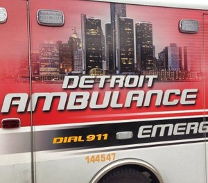A stolen ambulance was one of two Detroit Fire Department vehicles involved in separate crashes on Sunday. (Photo/City of Detroit Fire Department Facebook)