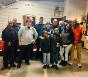 Detroit first responders worked together with the Detroit Public Safety Foundation to collect donations for two sisters, Lavaeha and Kissiah Edwards, and their father Cameron Edwards after the girls' mother died from an overdose last week. (Photo/Detroit Public Safety Foundation Facebook)