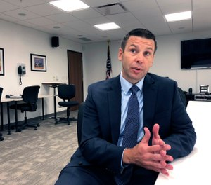 "Kevin K. McAleenan, U.S. acting secretary of Homeland Security, speaks Tuesday, Aug. 13, 2019, at a federal building in Jackson, Miss. McAleenan said ""violent white supremacist ideology"" is fueling some domestic terrorism. (AP Photo/Emily Wagster Pettus)"