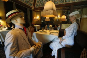 Mannequins provided social distancing at the Inn at Little Washington as they prepared to reopen their restaurant in Washington, Va., back in May. Image: AP Photo/Steve Helber