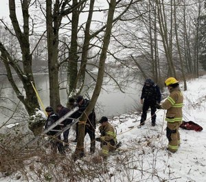Firefighters found that the dog had made it to shore but was at the bottom of a small cliff from an embankment. (Photo/Whatcom Humane Society)