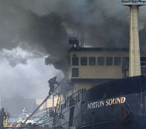 Crews struggled to extinguish the fire, which started during the morning of Sept. 17, 2017, on a 120-foot commercial fishing and research boat called the Norton Sound. (Photo/San Diego Fire Department)