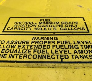 The fuel placard on a plane that crashed in Alaska in May, injuring three firefighters and the pilot, says