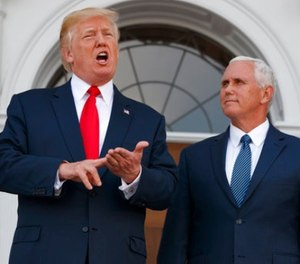 President Donald Trump, accompanied by Vice President Mike Pence, speaks to reporters before a security briefing at Trump National Golf Club in Bedminster, N.J., Thursday, August 10, 2017, (AP Photo/Evan Vucci)(AP Photo/Evan Vucci)
