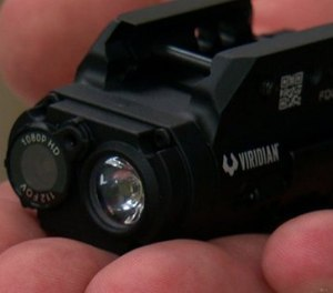 The 3.2-ounce, 3-inch long camera sits in front of the trigger and activates video and audio as soon as an officer pulls the gun from the holster.