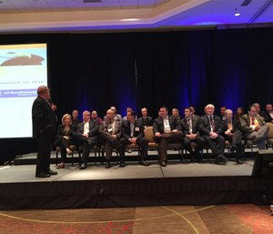 Medical directors from major U.S. cities take questions from the audience during a lightning round session. (Photo by Greg Friese)