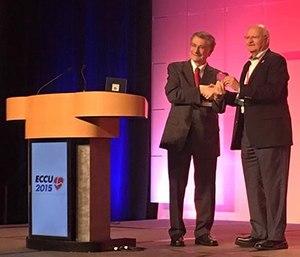 Dr. Gordon Ewy receives the Hans Dahll Award at the Emergency Cardiovascular Care Update 2015. (ECCU Facebook photo)