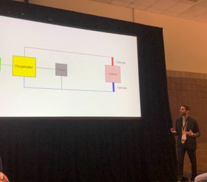 In a session at the 2019 EMS World Expo, Leon Eydelman, MD, emergency medicine and critical care physician, described the basics of ECMO, how it is used to treat critical patients, and how advancements in technology will impact the role EMS plays in the transport of these patients. (Photo/Nicole Volpi)