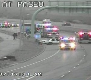 A firefighter was seriously injured after being struck while responding to a crash scene in El Paso on Wednesday. Police are looking for the driver they say fled the scene.